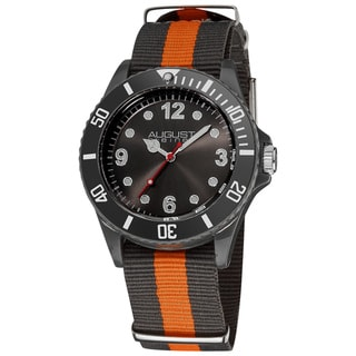 Black-and-Orange August Steiner Juniors Quartz Nylon Strap Sport Watch