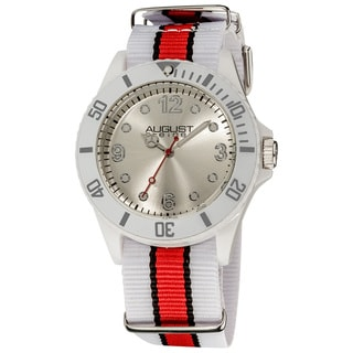 August Steiner Juniors Quartz Nylon Strap Sport Watch with Orange Stripe