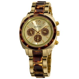 August Steiner Women's Resin Goldtone Swiss Quartz Multifunction Bracelet Watch with Brown Tortoise Bezel