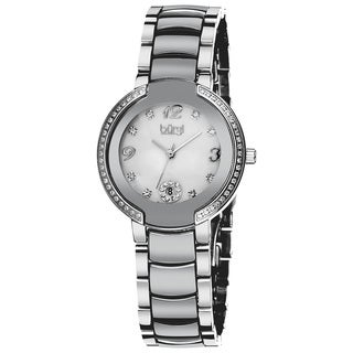 Burgi Women's Mother of Pearl Diamond Ceramic Bracelet Watch