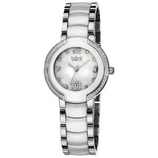 Burgi Women's Mother-of-Pearl Diamond White Ceramic Bracelet Watch