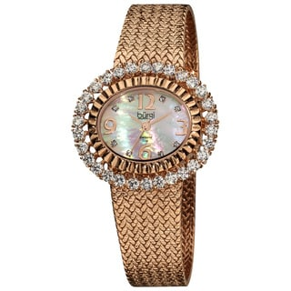 Burgi Women's Mother-of-Pearl Diamond Rose-Tone Mesh Bracelet Watch