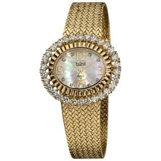Burgi Women's Mother-of-Pearl Diamond Gold-Tone Mesh Bracelet Watch