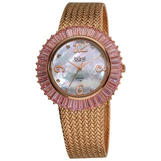 Burgi Women's Mother of Pearl Diamond and Baguette Bracelet Watch