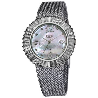 Burgi Women's Mother of Pearl Diamond and Baguette Bracelet Watch, White CZ Bezel