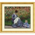 Claude Monet 'Camille Monet w/Child in Painter's Garden at Argenteuil, 1875' Framed Art Print (34 x 30-inch)