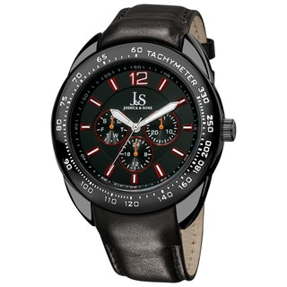 Joshua & Sons Men's Multifunction Tachymeter Black-Bezel Leather-Strap Watch