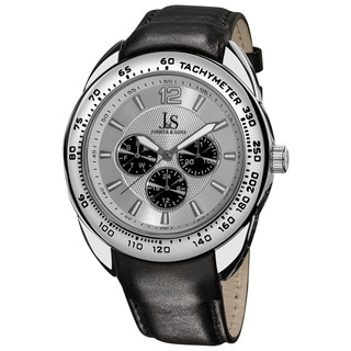 Joshua & Sons Men's Multifunction Tachymeter Silver-Tone-Bezel Leather-Strap Watch