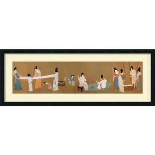Emperor Huizong 'Court Ladies Preparing Newly Woven Silk (detail)' Framed Art Print (45 x 17-inch)