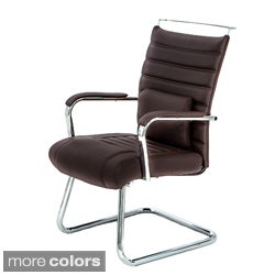 4-Series Black Leather Upholstered Chrome Guest Chair