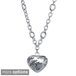 Stainless Steel Engraved Design Heart Charm Necklace