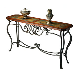 Crafted Wood and Metal Inlay Console Table