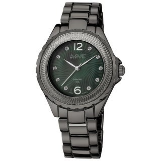 August Steiner Women's Genuine Diamond Mother of Pearl Bracelet Watch with Dark Gray Finish