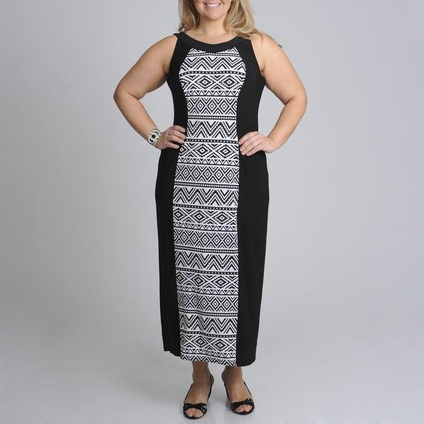 R & M Richards Women's Plus Panel Print Maxi Dress