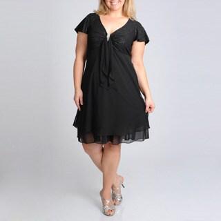 R & M Richards Women's Plus Glitter Evening Dress