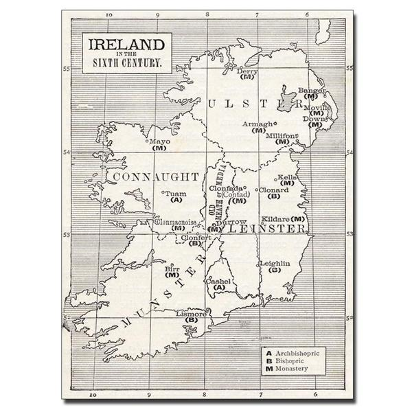 'Map of Ireland in the Sixth Century' Canvas Art