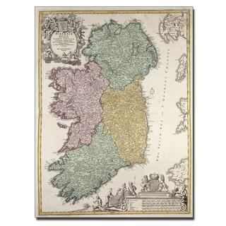 Johann B. Homann 'Map of Ireland, 1730' Canvas Art