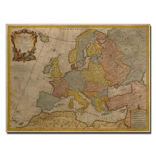 Paris Guillaume Delisle 'Map of Europe, 1700' Canvas Art