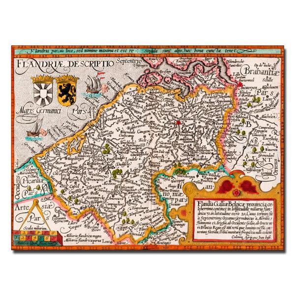 Johannes Bussemacher 'Map of Flanders' Canvas Art