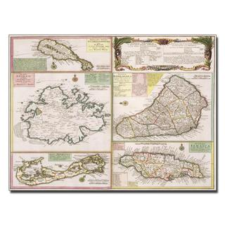 'Map of English Colonies in the Caribbean, 1750' Canvas Art