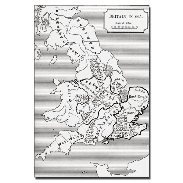 'Map of Britain in 665' Canvas Art