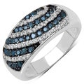 Sterling Silver 5/8ct TDW Blue and White Diamond Ring (I-J, I3)