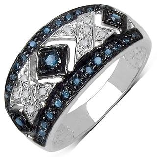 Sterling Silver 1/4ct TDW Blue and White Diamond Ring (I-J, I3)