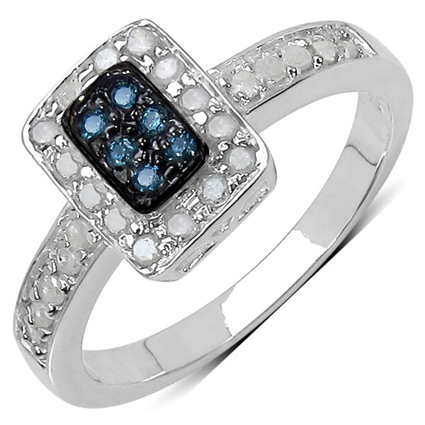 Sterling Silver 1/3ct TDW Blue and White Diamond Ring (I-J, I3)