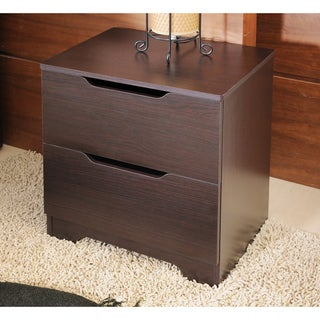 Kari Modern Knobless 2-drawer Walnut Finish Nightstand