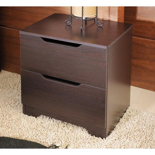 Furniture of America Kari Modern Knobless 2-drawer Walnut Finish Nightstand