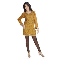 Mustard Georgette Beadwork Kurti (India)