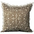 Mina Victory Crochet Floral Brown 20 x 20-inch Decorative Pillow by Nourison