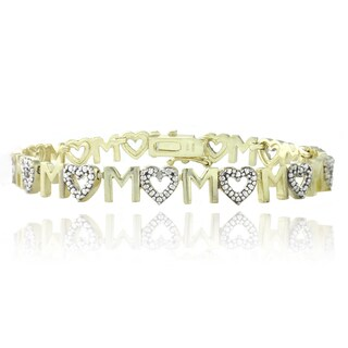 DB Designs Goldtone Diamond Accent 'Mom' Heart Bracelet