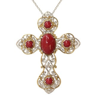 Michael Valitutti Two-tone Red Jade and White Sapphire Cross Necklace