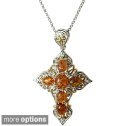 Michael Valitutti Two-tone Amber, Onyx or Jade Cross Necklace