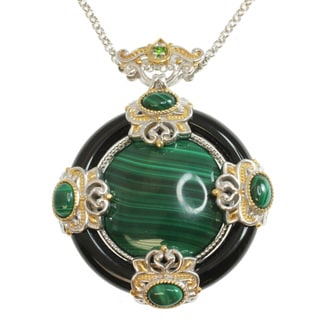 Michael Valitutti Two-tone Malachite, Onyx and Chrome Diopside Necklace