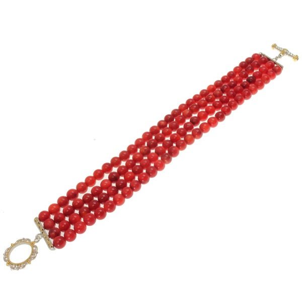 Michael Valitutti Two-tone Coral Bead and Ruby Bracelet