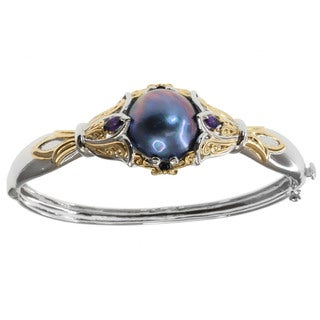 Michael Valitutti Two-tone Mabe Pearl and Gemstone Bangle (17-18 mm)