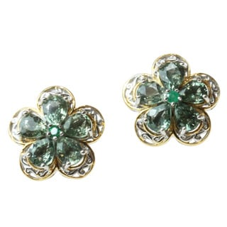 Michael Valitutti Two-tone Green Sapphire and Emerald Earrings