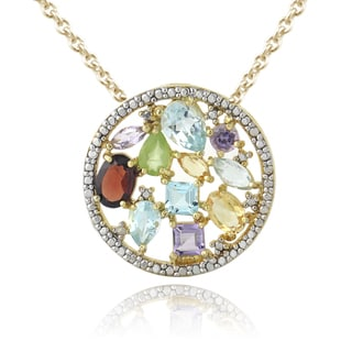 Glitzy Rocks Goldtone Multi-gemstone and Diamond Accent Circle Necklace