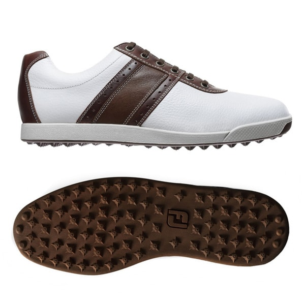 FootJoy Men's Contour Casual Spikeless White/ Brown Golf Shoes