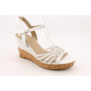 Bandolino Women's 'Modavi' White Faux Leather Wedge Sandals
