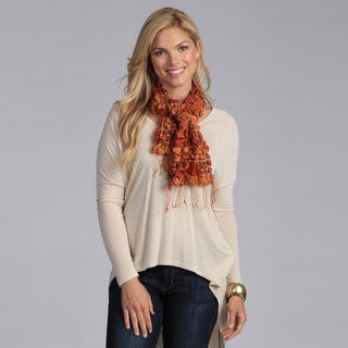 Hand-Loomed Orange Silk Puckered Scarf (India)
