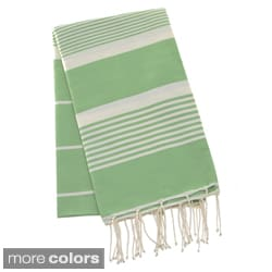 Authentic Fouta Natural Cotton Thin White Striped Bath & Beach Towel (Tunisia)