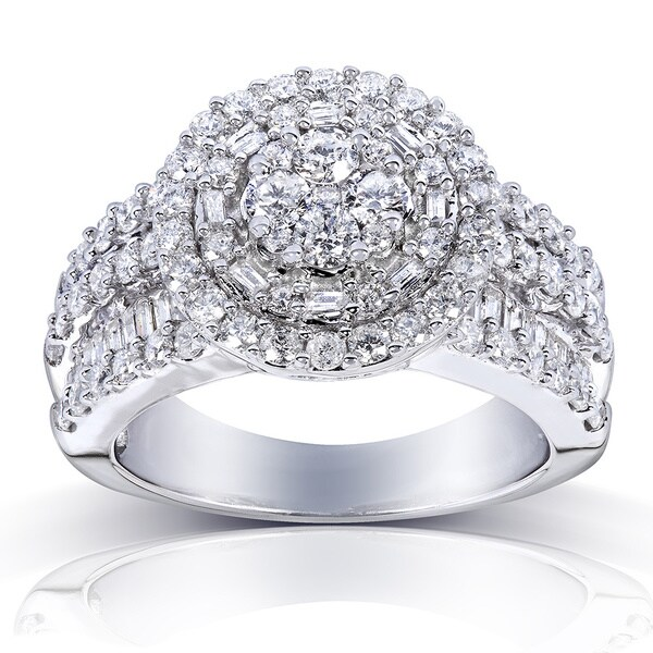 Annello 14k Gold 2ct TDW Diamond Halo Cluster Engagement Ring (H-I, I1-I2)