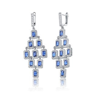 Collette Z Sterling Silver Blue Cubic Zirconia Square Chandelier Earrings