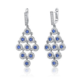 Collette Z Sterling Silver Blue Cubic Zirconia Round Chandelier Earrings