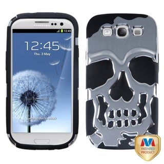 INSTEN Silver/ Black Skullcap Hybrid Phone Case Cover for Samsung Galaxy S3