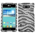 MYBAT Black Zebra Skin Diamante Protector Cover for LG US730 Splendor