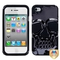 MYBAT Gun Metal Plating/ Black Skullcap Hybrid Cover for Apple iPhone 4/ 4S